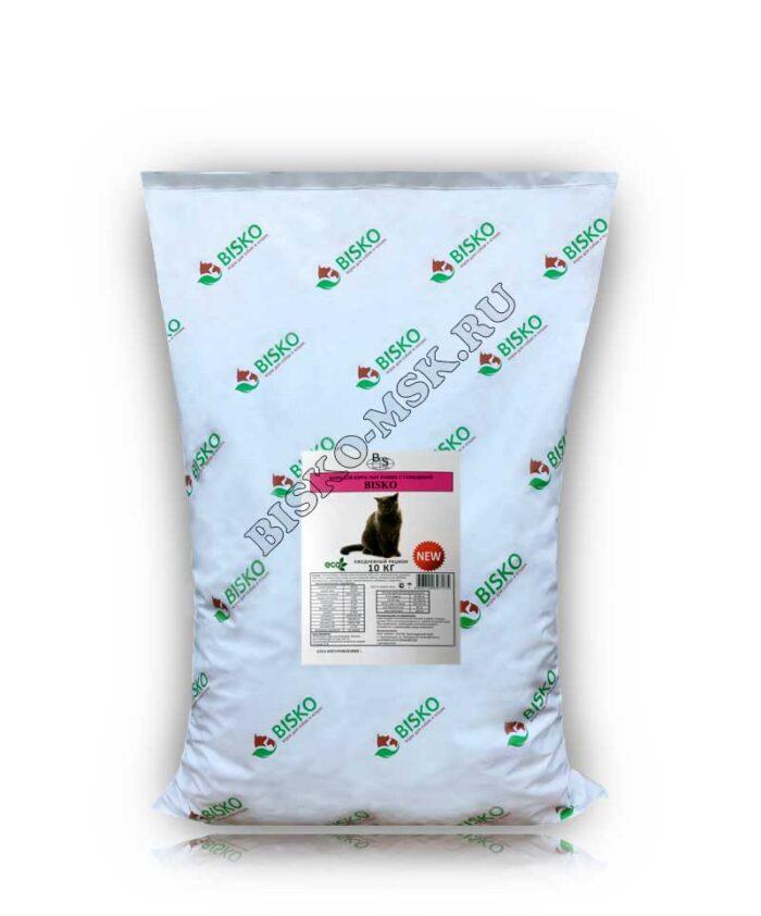 Мешок корма для кошек Биско с говядиной и рисом, 10 кг.