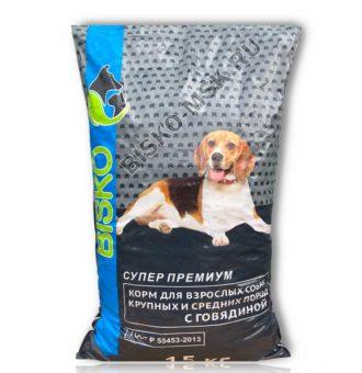 Сухой корм для взрослых собак Биско Супер Премиум 15 кг.