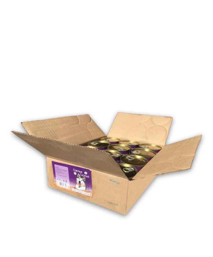 Консервы для собак Собачье Счастье Говяжьи потрошки с овощами, 750 г (упаковка 12 шт)