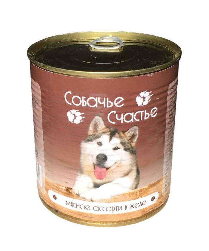 Консервы для собак Собачье Счастье Мясное ассорти в желе, 750 г