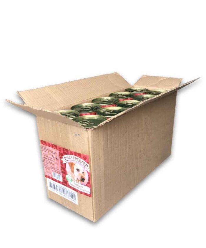 Консервы для собак Ем Без Проблем Говядина с сердцем и печенью, 410 г упаковка (20 шт)
