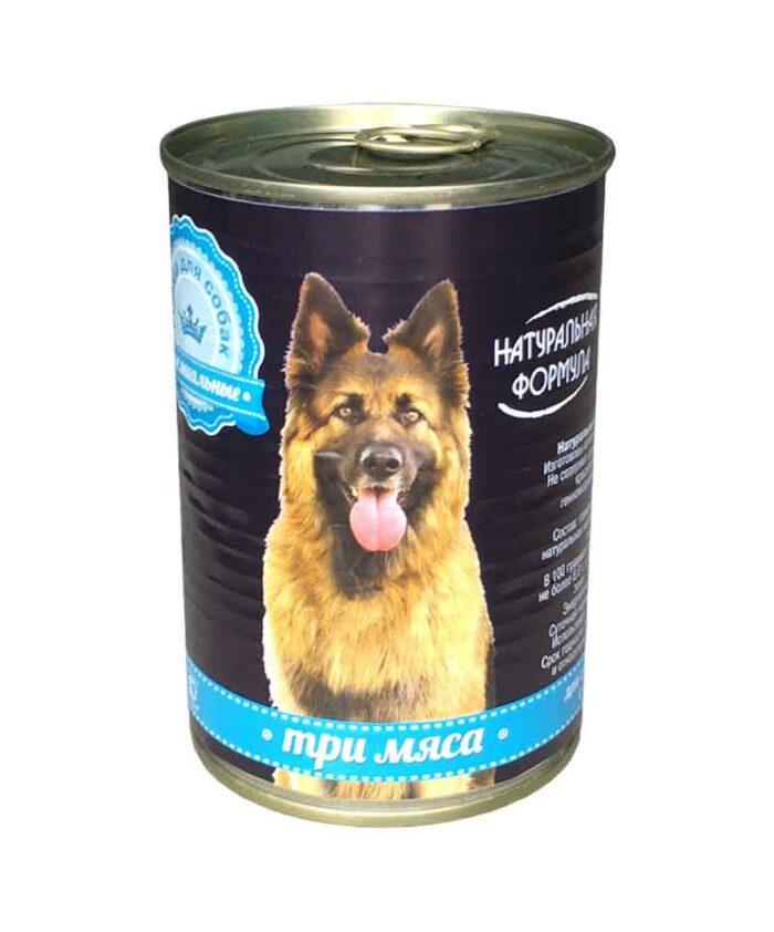 Консервы для собак Натуральная Формула Три мяса, 410 г