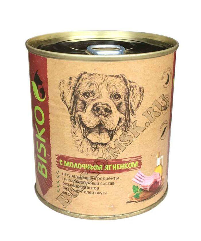 Консервы для собак Биско с молочным ягненком, 750г